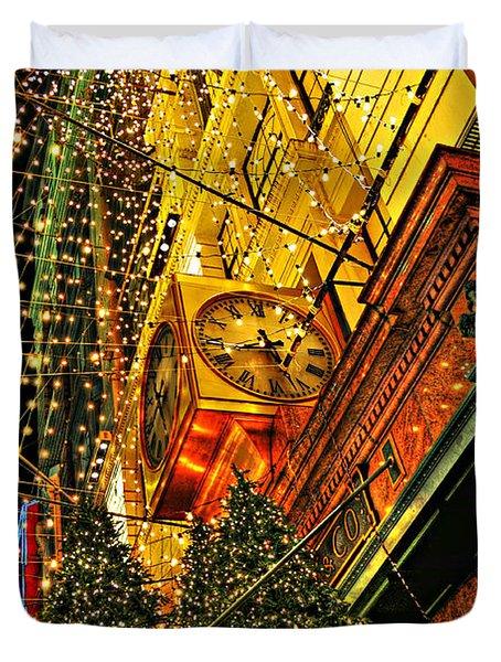 Macy's Christmas Lights Duvet Cover by Randy Aveille
