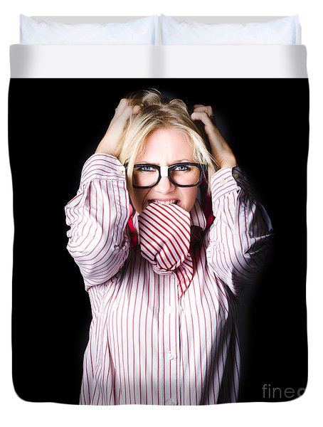 Mad And Angry Businesswoman Pulling Out Hair Duvet Cover by Jorgo Photography - Wall Art Gallery