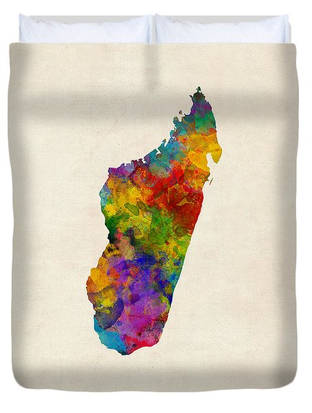 Duvet Cover featuring the digital art Madagascar Watercolor Map by Michael Tompsett