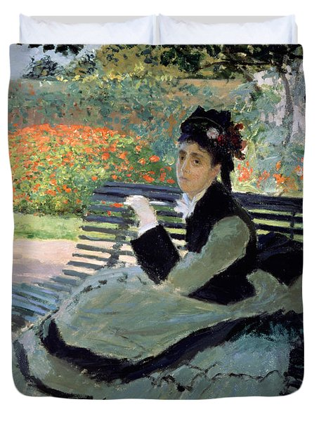 Madame Monet On A Garden Bench Duvet Cover by Claude Monet