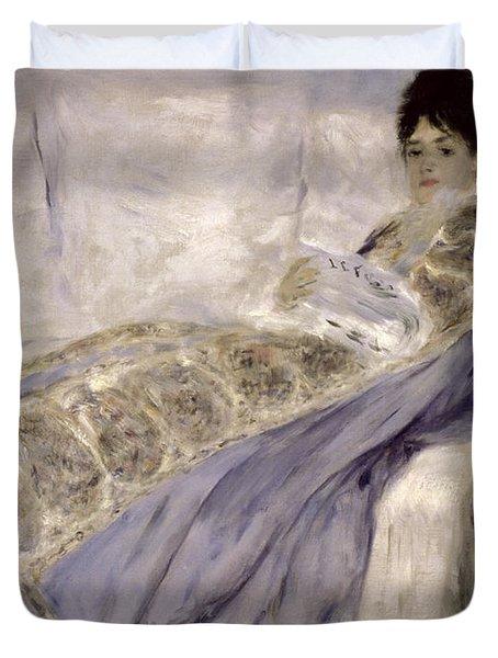 Madame Monet On A Sofa Duvet Cover by Pierre Auguste Renoir