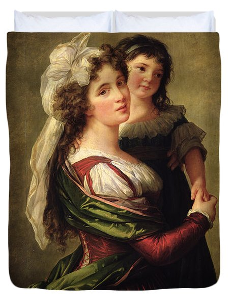 Madame Rousseau And Her Daughter Duvet Cover by Elisabeth Louise Vigee Lebrun
