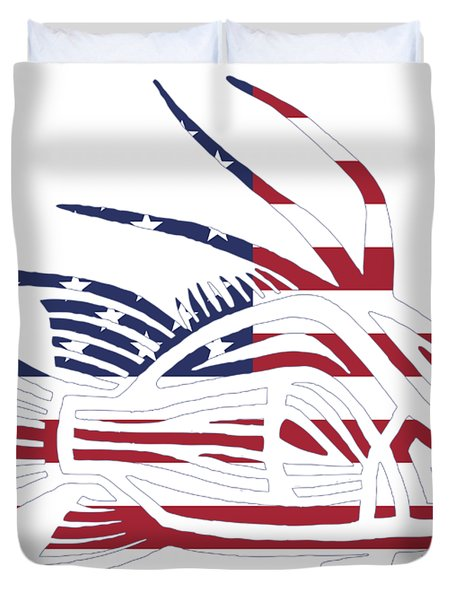 Made In The Usa Tribal Hogfish Duvet Cover
