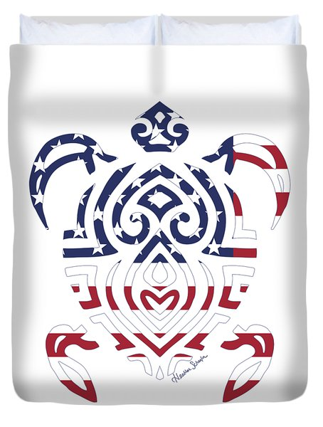 Made In The Usa Tribal Turtle Duvet Cover