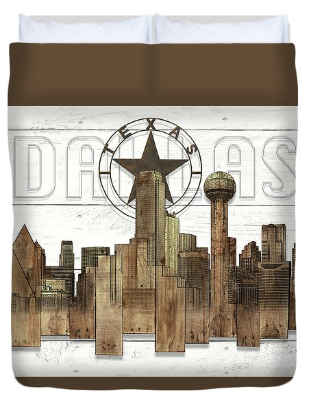 Made-to-order Dallas Texas Skyline Wall Art Duvet Cover