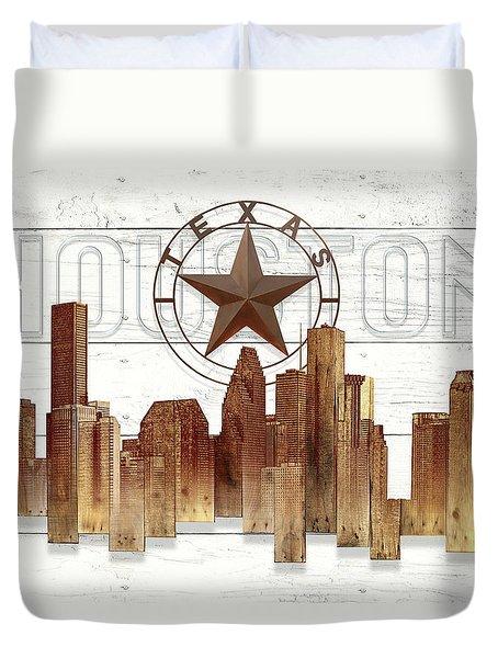 Made-to-order Houston Texas Skyline Wall Art Duvet Cover
