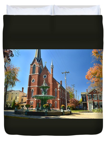 Madison Church And Water Fountain Duvet Cover