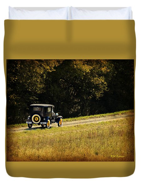Madison County Back Roads-ford Duvet Cover by Kathy M Krause