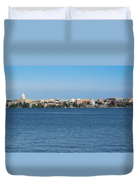 Madison Skyline From Picnic Point Duvet Cover