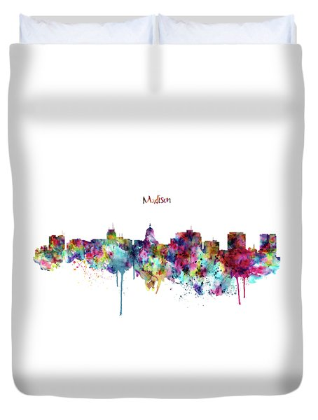 Duvet Cover featuring the mixed media Madison Skyline Silhouette by Marian Voicu