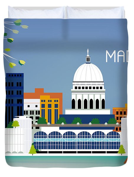 Madison Wisconsin Horizontal Skyline Duvet Cover by Karen Young