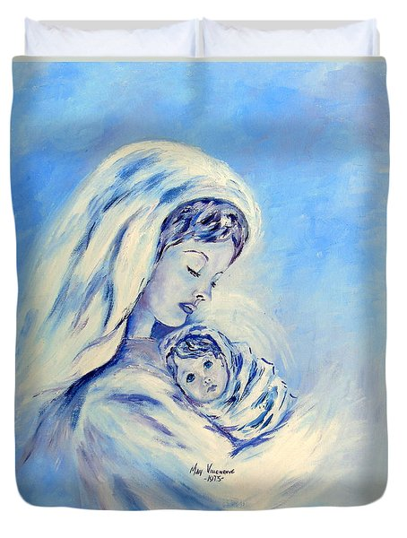 Madonna And Child By May Villeneuve Duvet Cover