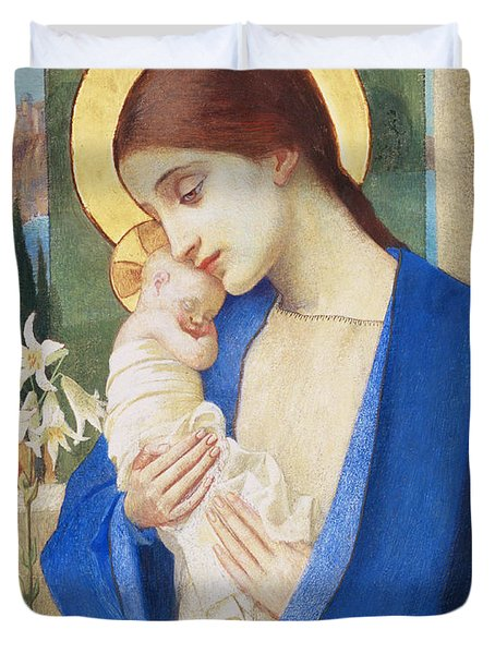 Madonna And Child Duvet Cover by Marianne Stokes