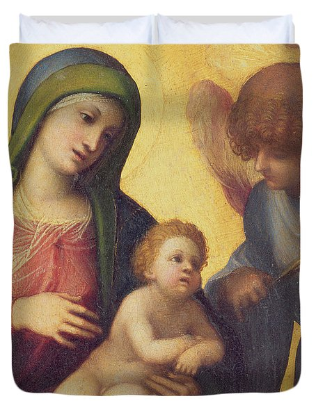 Madonna And Child With Angels Duvet Cover by Correggio