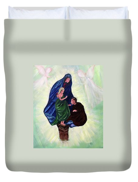 Madonna And Child With St Anthony Duvet Cover