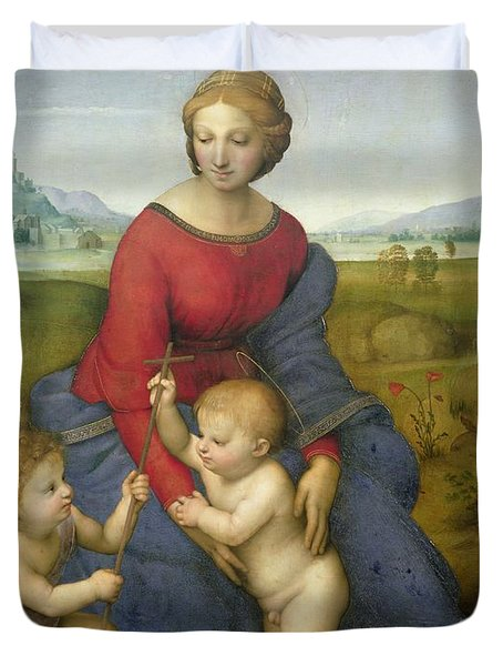 Madonna In The Meadow Duvet Cover by Raphael