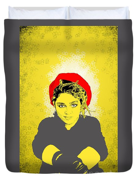 Madonna On Yellow Duvet Cover