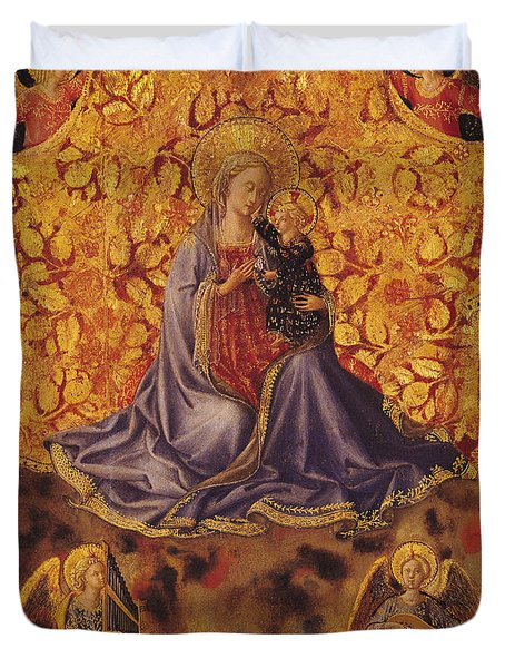 Madonna Of Humility With Christ Child And Angels Duvet Cover by Fra Angelico