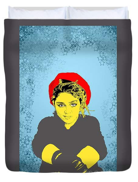 Duvet Cover featuring the drawing Madonna On Blue by Jason Tricktop Matthews