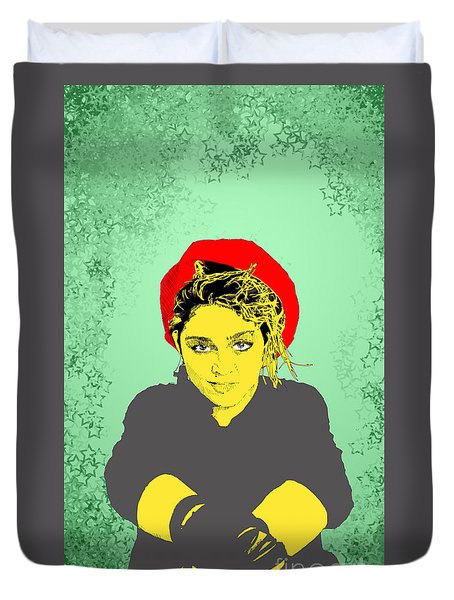 Madonna On Green Duvet Cover