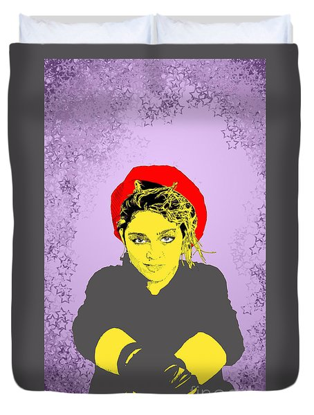 Duvet Cover featuring the drawing Madonna On Purple by Jason Tricktop Matthews