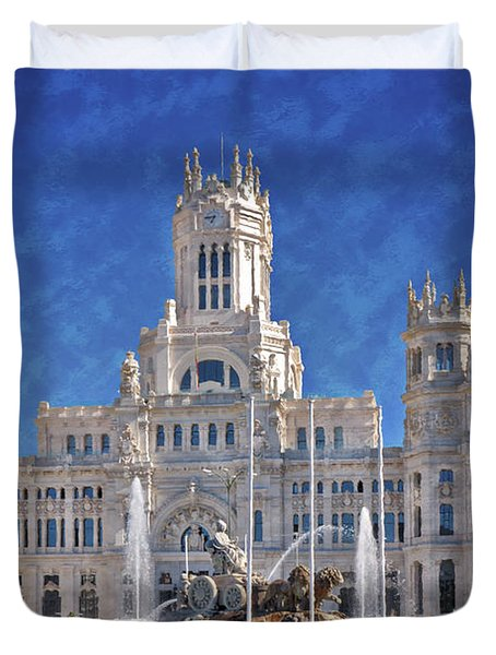 Madrid City Hall Duvet Cover by Joan Carroll