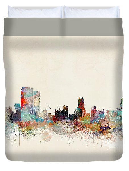 Duvet Cover featuring the painting Madrid Spain by Bri B
