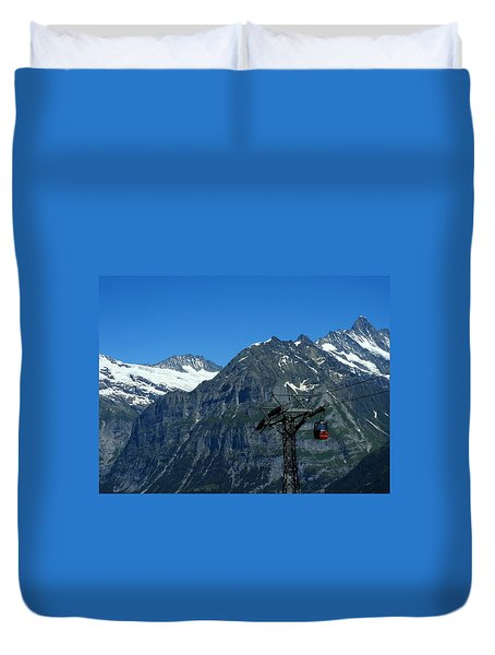 Maennlichen Gondola Calbleway, In The Background Mettenberg And Schreckhorn Duvet Cover