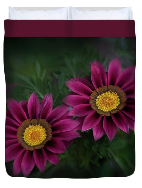 Duvet Cover featuring the photograph Magenta African Daisies by David and Carol Kelly