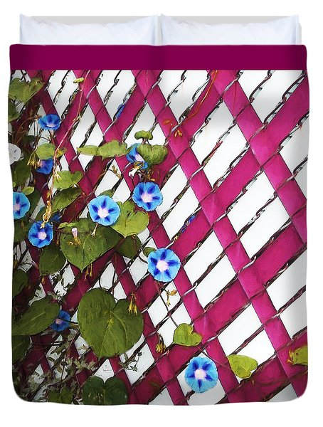 Duvet Cover featuring the photograph Magenta Chain-link by Shawna Rowe