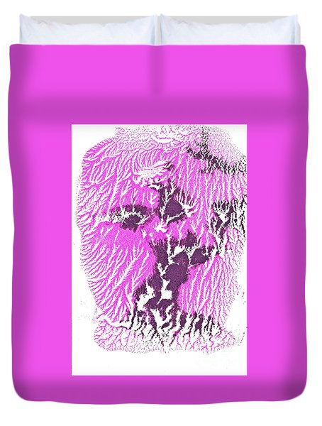 Duvet Cover featuring the painting Magenta Dance1 by Asha Sudhaker Shenoy