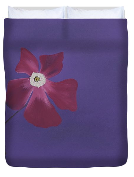 Magenta Flower On Plum Background Duvet Cover