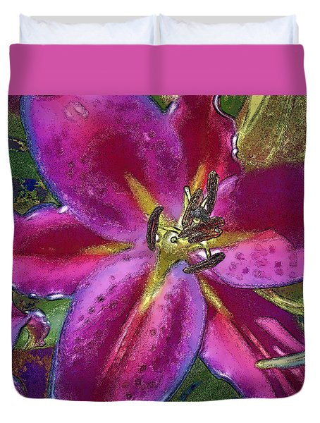 Duvet Cover featuring the photograph Magenta Flower by Paula Porterfield-Izzo