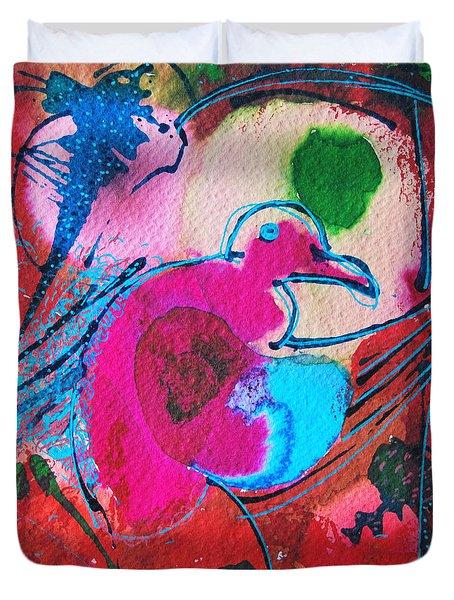 Magenta Marching Bird Duvet Cover by Ana Maria Edulescu