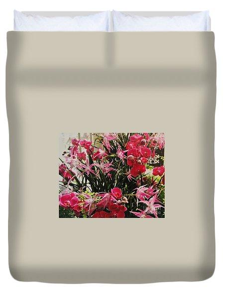 Magenta Orchid Garden Duvet Cover