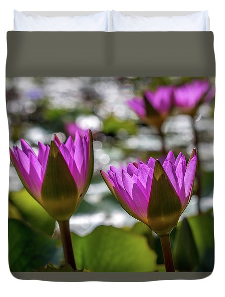 Magenta Water Lilies Duvet Cover