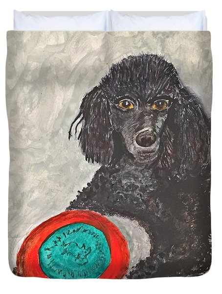 Maggie And Her Frisbee Duvet Cover