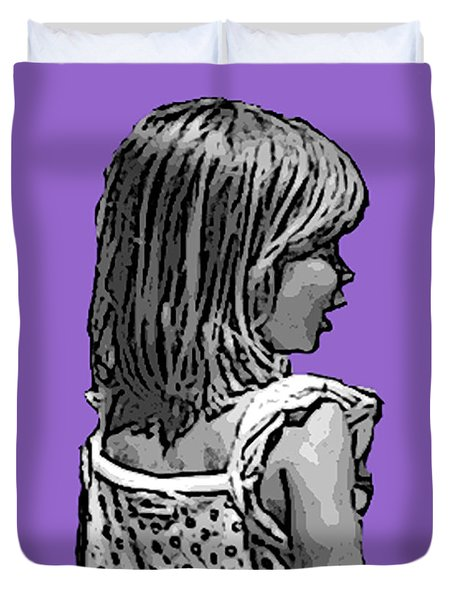 Maggies Purple Portrait Duvet Cover