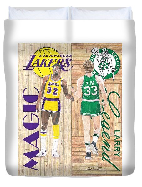 Magic Johnson And Larry Bird Duvet Cover by Chris Brown