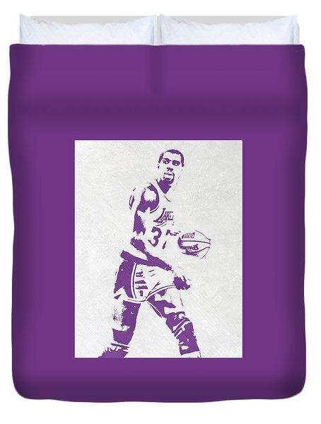 Magic Johnson Los Angeles Lakers Pixel Art Duvet Cover by Joe Hamilton