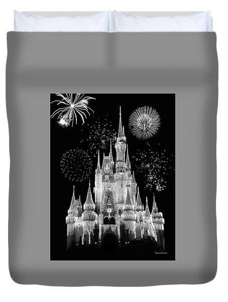 Magic Kingdom Castle In Black And White With Fireworks Walt Disney World Mp Duvet Cover
