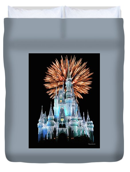 Magic Kingdom Castle In Frosty Light Blue With Fireworks 02 Mp Duvet Cover