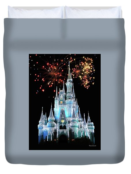 Magic Kingdom Castle In Frosty Light Blue With Fireworks 03 Mp Duvet Cover