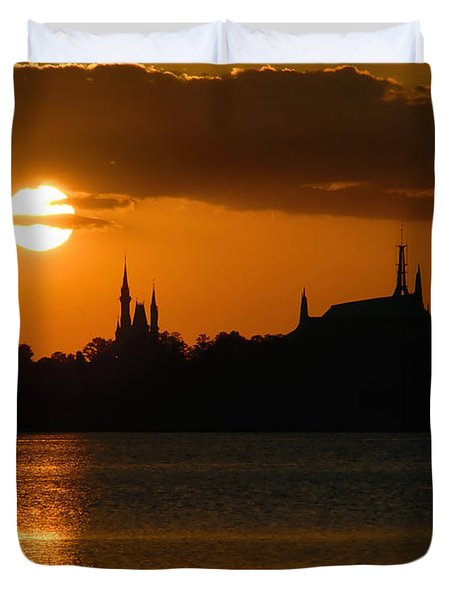 Magic Kingdom Sunset Duvet Cover