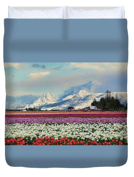 Magic Landscape 1 - Tulips Duvet Cover by Rick Lawler