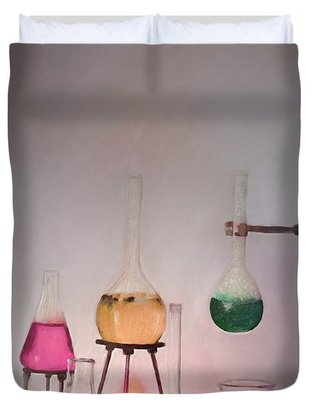Magical Beakers Duvet Cover by Enzie Shahmiri