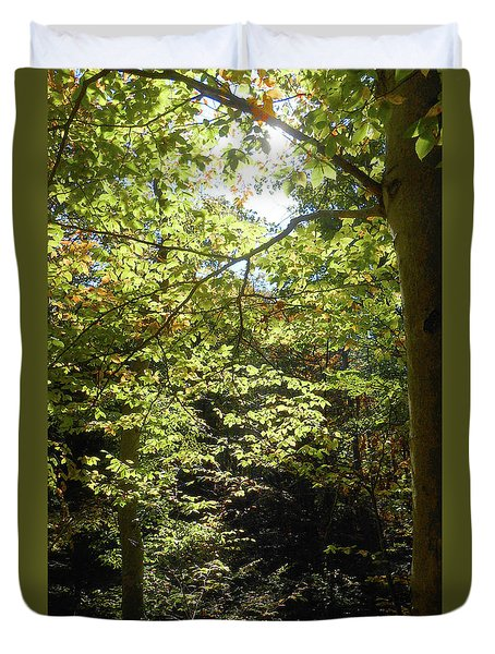 Duvet Cover featuring the photograph Magical Forest Beginning Of Fall by Irina Sztukowski