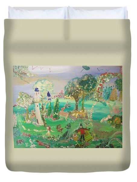 Duvet Cover featuring the painting Magical Garden by Judith Desrosiers