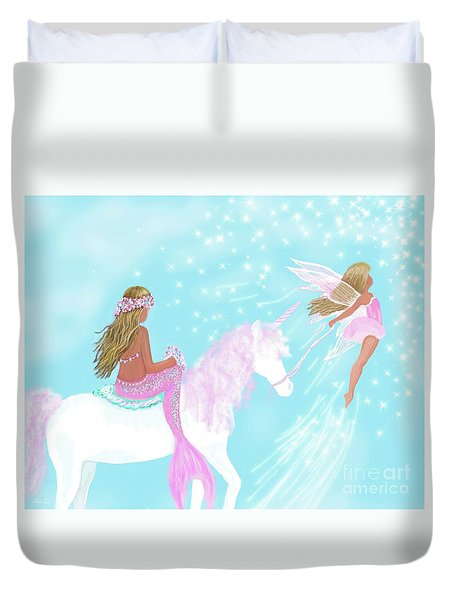 Duvet Cover featuring the painting Magical Play Day by Leslie Allen