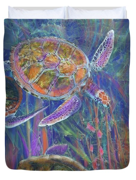 Magical Sea Turtles  Duvet Cover by Julianne Ososke